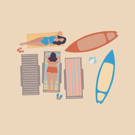 illustration of women on the beach. Women sunbathe in the sun. Vacation at sea. View from above. Colorful flat vector drawing. Illustration