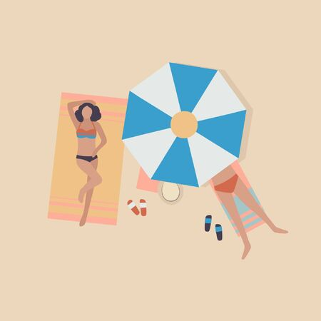illustration of woman on the beach. Woman sunbathe in the sun. Vacation at sea. View from above. Colorful flat vector drawing.