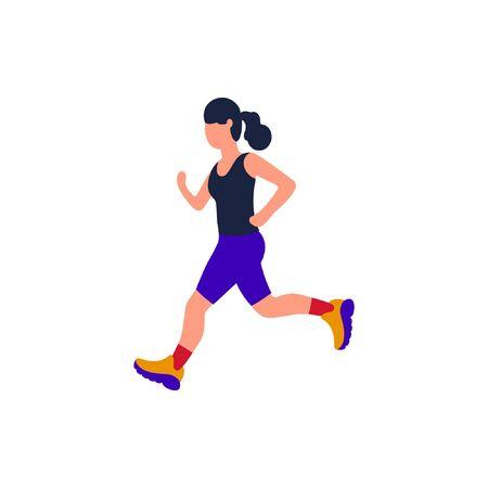 Jogging woman. Vector illustration with running woman. Training to marathon. Flat style 矢量图像