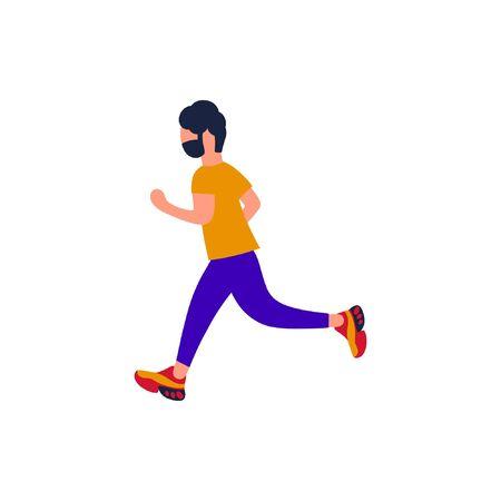 Jogging man. Vector illustration with running man. Training to marathon. Flat style