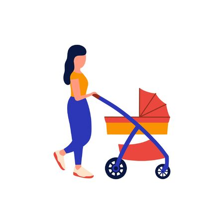 Mom walks with a stroller.Baby sleeps in a stroller.Vector illustration in a flat style.