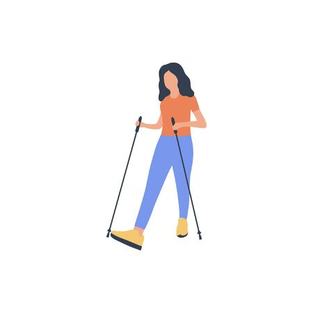 Woman nordic walking isolated on a light background. Colorful flat vector illustration. Stock Illustratie
