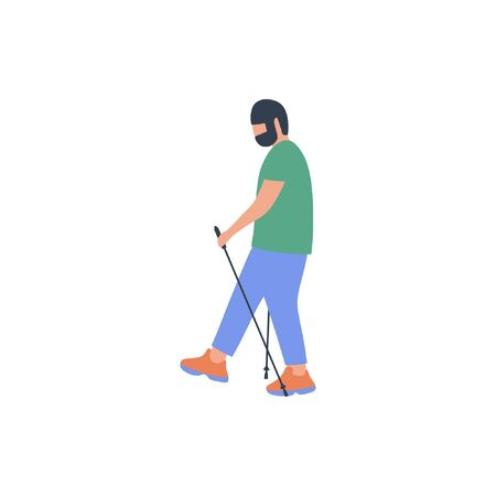 Man nordic walking isolated on a light background. Colorful flat vector illustration. Stock Illustratie