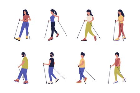A collection of people nordic walking isolated on a light background. Colorful flat vector illustration.