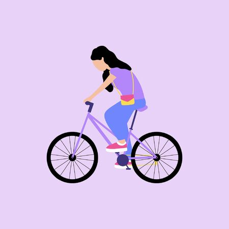 Vector illustration of woman on bicycle. Riding bike. Flat style