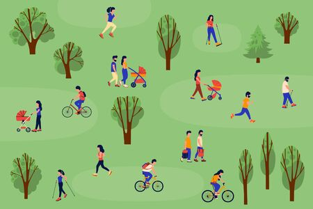 Illustration of people walking in the forest. Group of people goes Nordic walking, walks with a child in a stroller, ride bicycles, run. Vector collection. Flat style