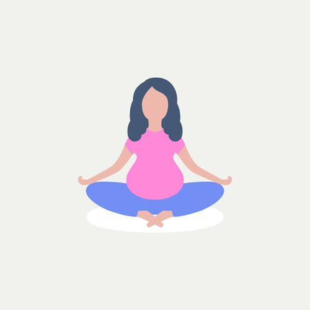 Young pregnant woman practices yoga. Vector illustration in a flat style