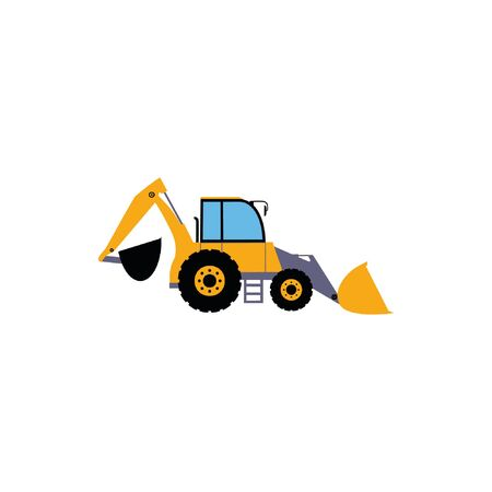 Illustration of backhoe. Construction machinery.Vector illustration in a flat style