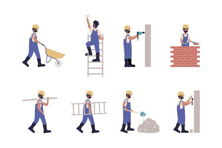 Worker puts bricks, stands on the stairs and paints, hammering nails, digging with a shovel, carries a ladder, drills a wall and other. Flat style set