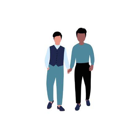Gay wedding illustration. Vector illustration in flat style