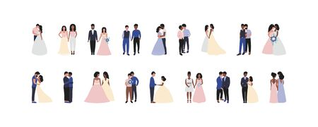 Illustration with bride and groom. Lesbian and wedding. Vector set in a flat style