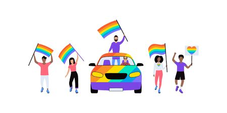 Group of LGBT activists in parade. Vector illustration in flat style