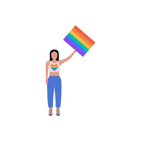 Vector illustration of LGBT activist in parade. Flat style