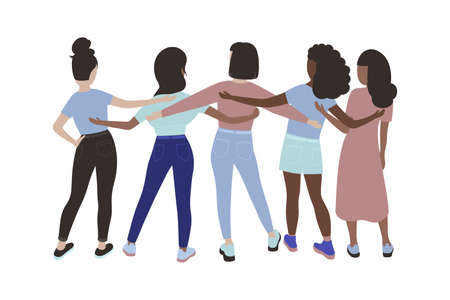 People hugging together. Friendship day. Vector illustration in flat style