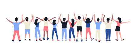 Illustration of people with hands up under. Vector illustration in flat style