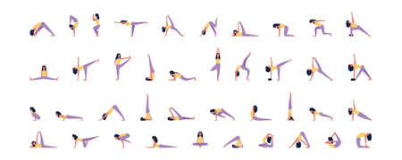 Young women in yoga poses set in flat style