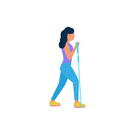 Illustration of young woman performing exercises isolated on a light background. Colorful flat vector illustration. Ilustração