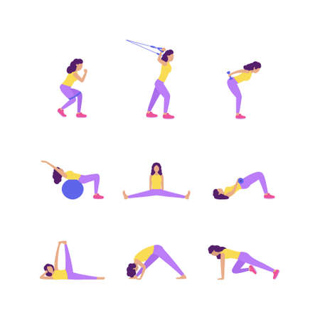 Collection of young women performing exercises isolated on a light background. Colorful flat vector set.