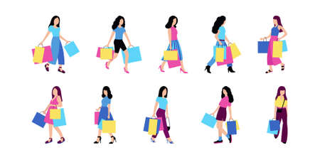 Young girls shopping. Illustration of women with packages after shopping. Colorful flat vector set.