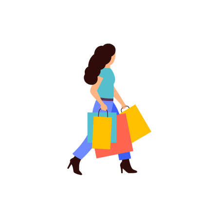 Young girl shopping. Illustration of woman with packages after shopping. Colorful flat vector drawing.