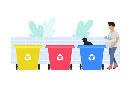 illustration of man sorting garbage into trash cans. Recycle thrash and Waste separation. Colorful flat vector drawing.