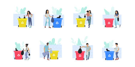 Collection of people sorting garbage into trash cans. Recycle thrash and Waste separation. Colorful flat vector drawing. 일러스트