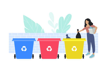 illustration of woman sorting garbage into trash cans. Recycle thrash and Waste separation. Colorful flat vector drawing.