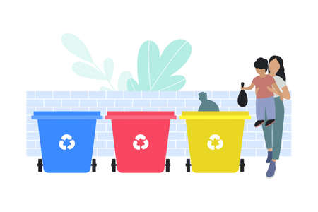 illustration of mom and child sorting garbage into trash cans. Recycle thrash and Waste separation. Colorful flat vector drawing. 일러스트