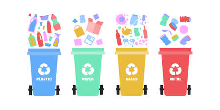illustration of sorting garbage into trash cans. Recycle thrash and Waste separation. Colorful flat vector drawing.