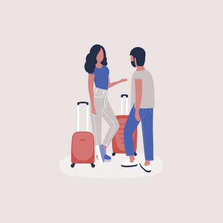 illustration of people with luggage. Colorful flat vector illustration.