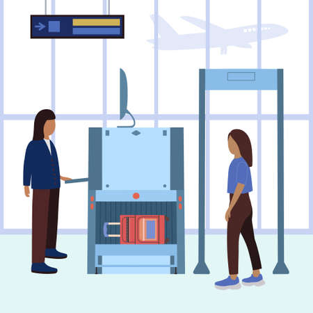 Woman passing security check at the airport. Vector illustration in a flat style.