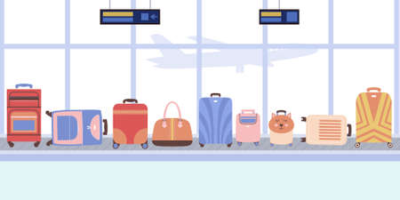illustration of suitcases on the luggage belt at the airport. Vector illustration in a flat style. Ilustração