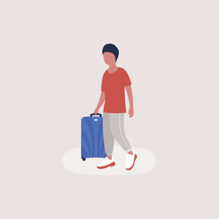 illustration of man with luggage. Colorful flat vector illustration.