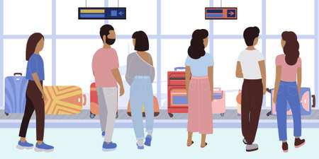 Illustration of people are waiting for their luggage on the luggage belt at the airport. Vector illustration in a flat style.