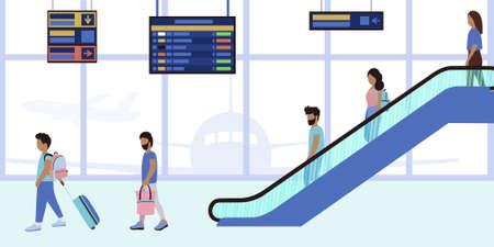 Illustration of people on the escalator at the airport. Vector illustration in a flat style.
