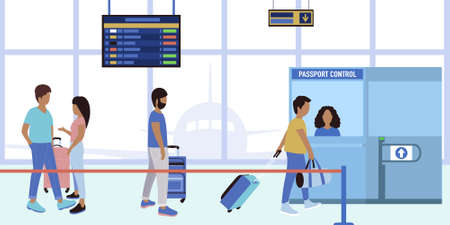 Illustration of people queuing up for passport control at the airport. Vector illustration in a flat style. Ilustração
