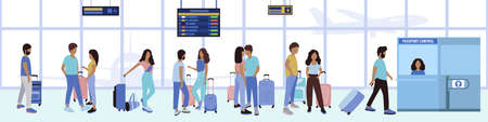 Illustration of people queuing up for passport control at the airport. Vector illustration in a flat style.