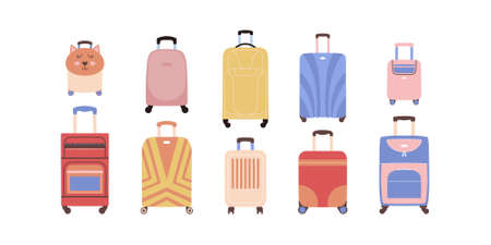 Collection of different luggage. Suitcases in a flat style. Vector illustration. Ilustração