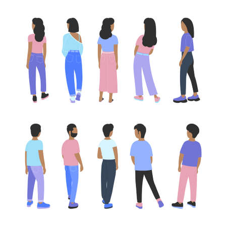 Illustration of people from the back. Vector illustration in a flat style