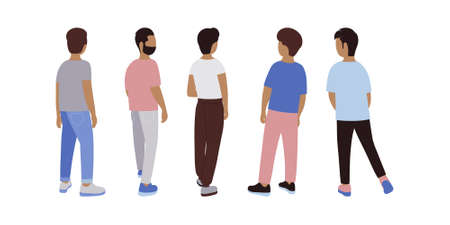 Illustration of men from the back. Vector illustration in a flat style