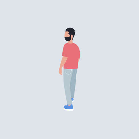 Illustration of a man from the back. Vector illustration in a flat style