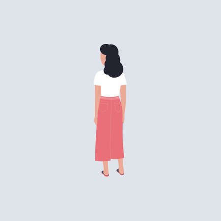 Illustration of a woman from the back. Vector illustration in a flat style