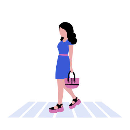 Illustration of walking young woman. Street style. Vector illustration in a flat style