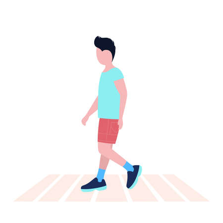 Illustration of walking young man. Street style. Vector illustration in a flat style