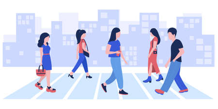 Group of walking people. Street style. Vector illustration in a flat style Ilustração