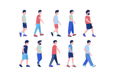 Group of walking young men. Street style. Vector illustration in a flat style