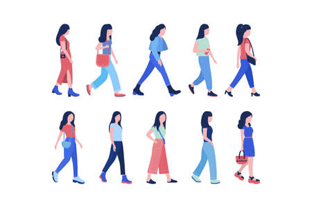 Group of walking young women. Street style. Vector illustration in a flat style
