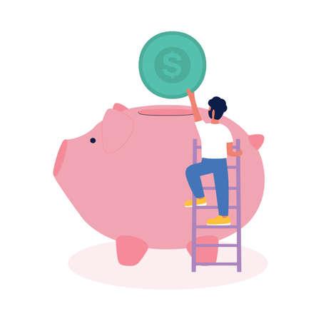 A little man throwing a coin at a big money piggy.