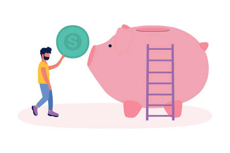 illustration of a little man throwing a coin at a big money piggy.