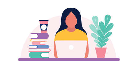 illustration of person who works at a computer, communicates in social networks, learns online. Colorful flat vector illustration.